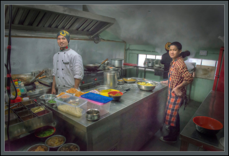Kitchen at the Ropeway, Gangtok, Sikkim, India.