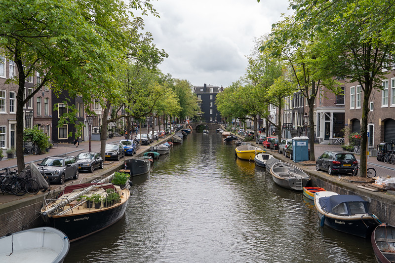 Boats lining an Amsterdam canal