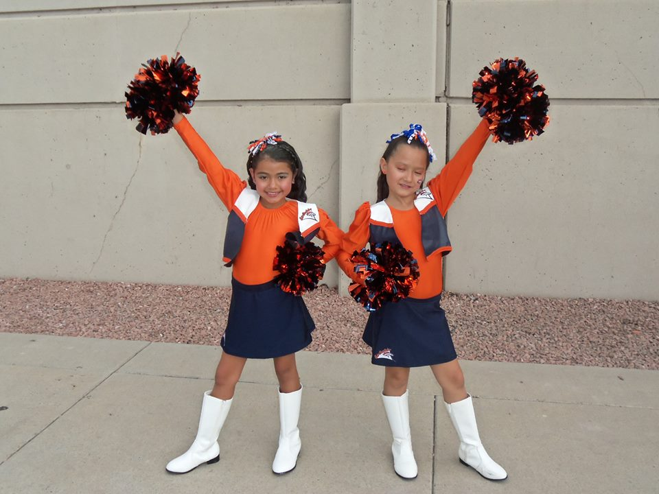 . Cousins.....Junior Denver Bronco Cheerleaders.... BRONCO FANS for life! Photo by Sherry Ortega