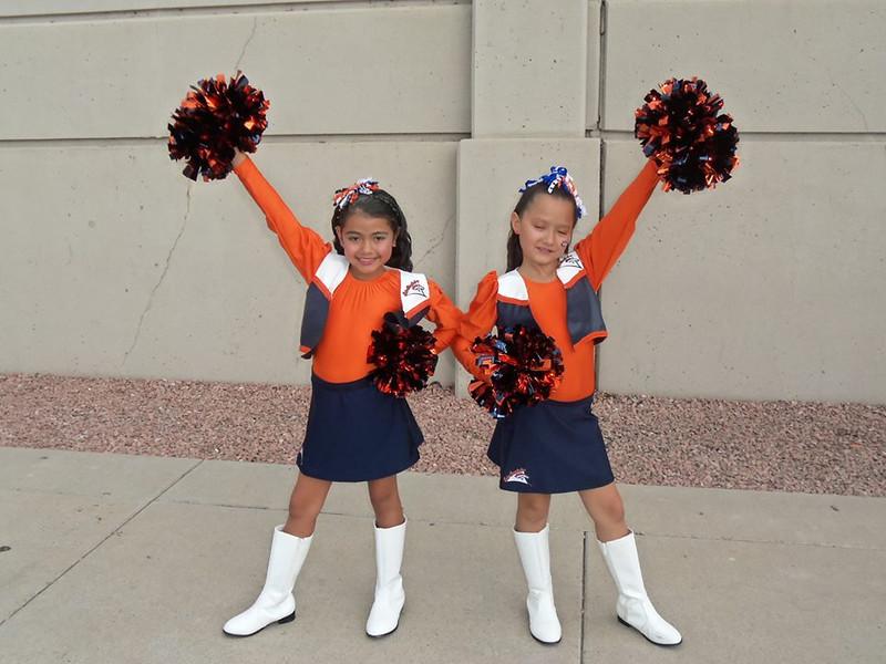 . Cousins.....Junior Denver Bronco Cheerleaders.... BRONCO FANS for life! Photo by Sherry Ortega