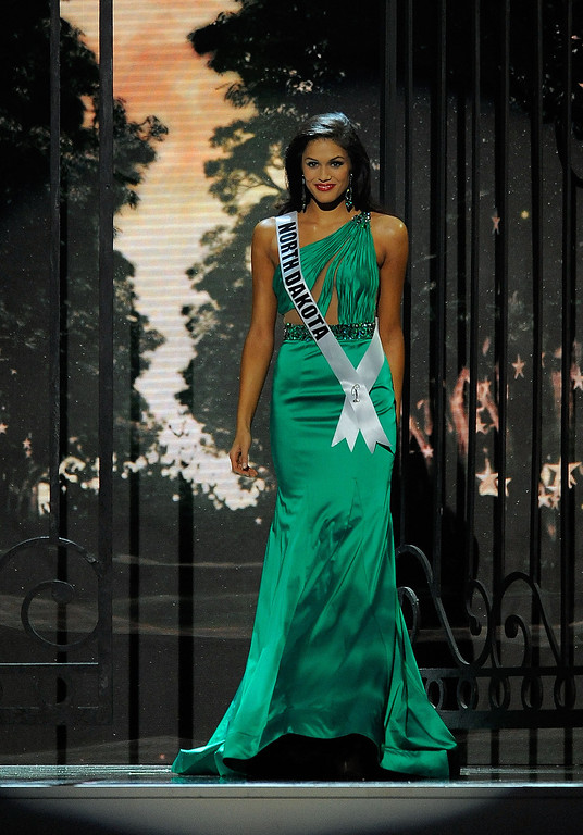 . Miss North Dakota USA Audra Mari competes in the 2014 Miss USA Competition at The Baton Rouge River Center on June 8, 2014 in Baton Rouge, Louisiana.  (Photo by Stacy Revere/Getty Images)