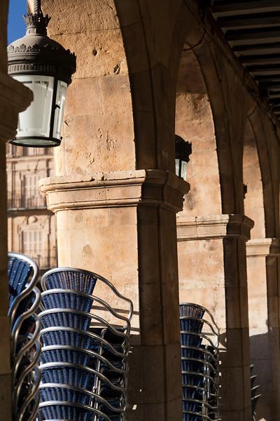 Arcade, Plaza Mayor (Main Square), town of Salamanca, autonomous community of Castilla and Leon, Spain