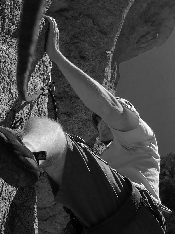 Bob Starting up the wall Peace Pipe, 5.10c London Wall, Williamson Rock