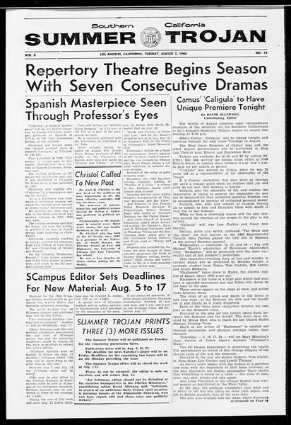 Summer Trojan, Vol. 10, No. 12, August 02, 1960