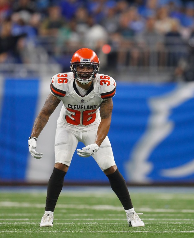 . Cleveland Browns defensive back Derron Smith waits on the play during the first half of an NFL football preseason game against the Detroit Lions, Thursday, Aug. 30, 2018, in Detroit. (AP Photo/Paul Sancya)