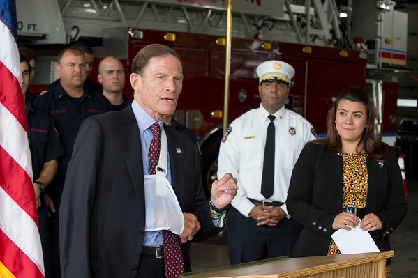 09/13/19 Wesley Bunnell | StaffrrThe New Britain Fire Department is receiving federal grant money to improve safety in the fire houses along with EMS workers receiving grant money to replace aging equipment in a press conference announced by Senator Richard Blumenthal and Mayor Erin Stewart. Senator Richard Blumenthal as Fire Chief Raul Ortiz and Mayor Erin Stewart look on.
