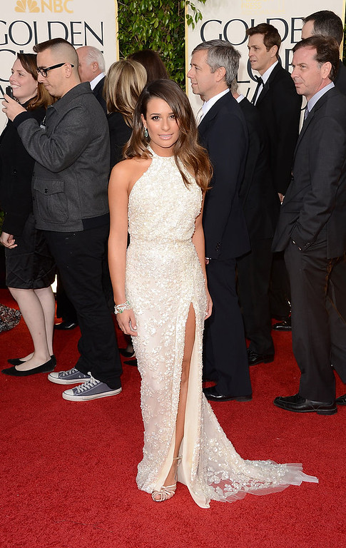 . Actress Lea Michele arrives at the 70th Annual Golden Globe Awards held at The Beverly Hilton Hotel on January 13, 2013 in Beverly Hills, California.  (Photo by Jason Merritt/Getty Images)