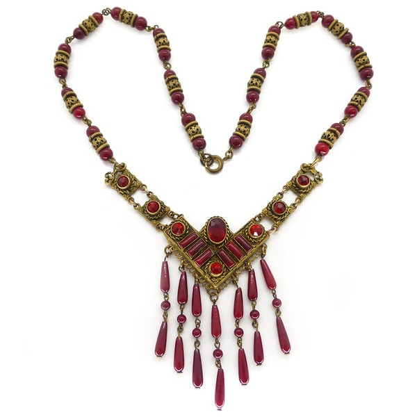 VINTAGE ART DECO CZECH RED GLASS GOLD FILIGREE METAL DROP BEADED NECKLACE