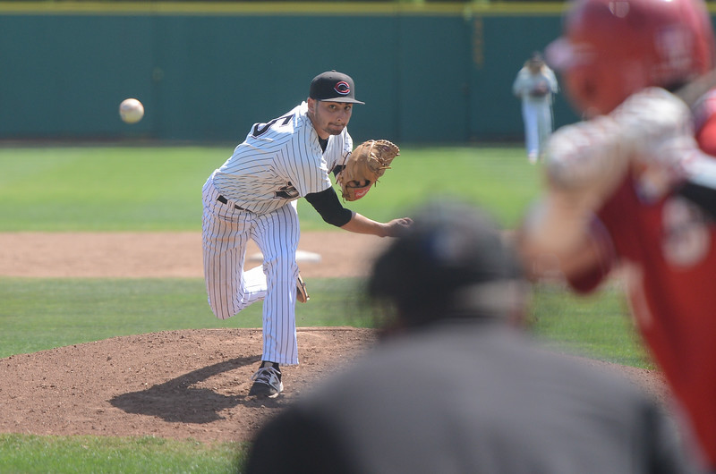 Chico State's Hilario Tovar pitches the ball, May 4, 2018,  in Chico, California. (Carin Dorghalli -- Enterprise-Record)