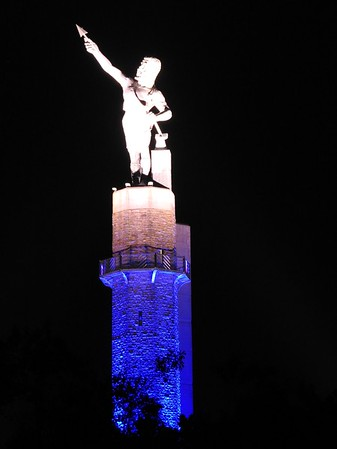 Vulcan Illuminated in Blue for 9/11