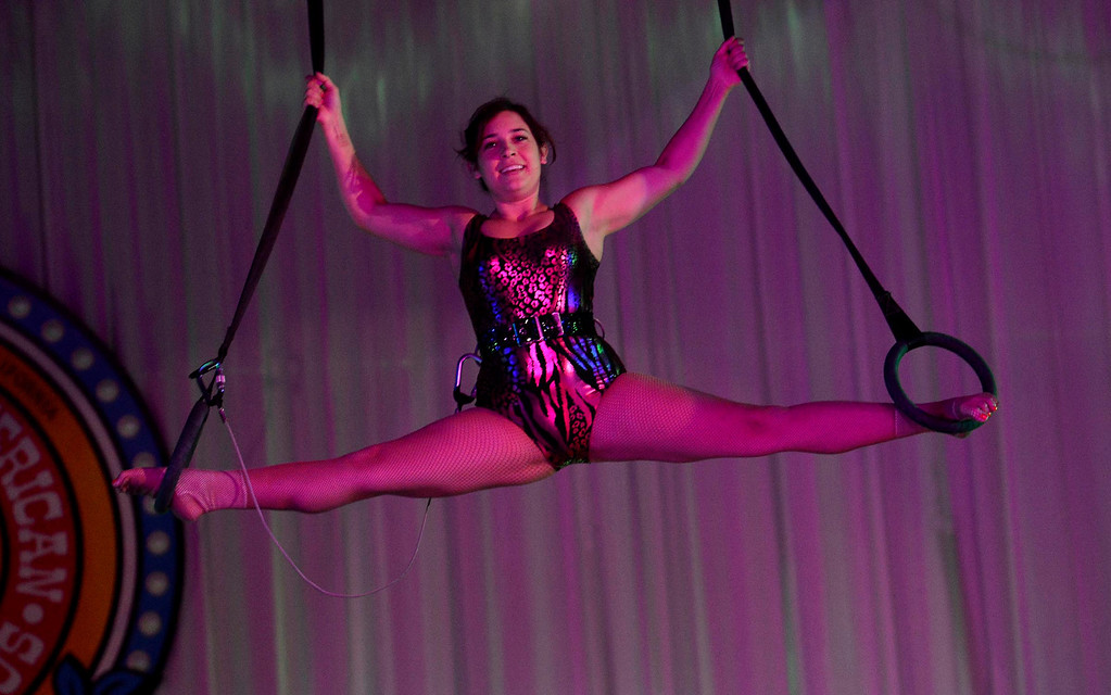 . A girl performs on the rings during the Great Y Circus in Redlands May 3, 2013.  GABRIEL LUIS ACOSTA/STAFF PHOTOGRAPHER.