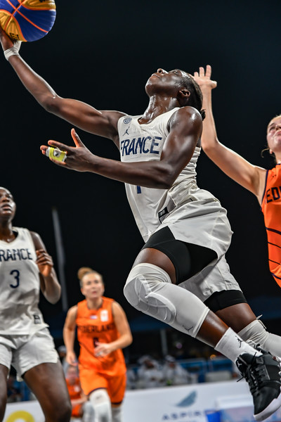 France and Brasil in action in the Final of the International 3x3 Basketball Tournament during the 1st ANOC World Beach Games at Katara on October 16, 2019 in Doha, Qatar. Photo by Tom Kirkwood/SportDXB