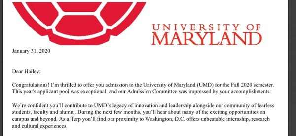 Jan. 30 - Hailey Accepted to Maryland