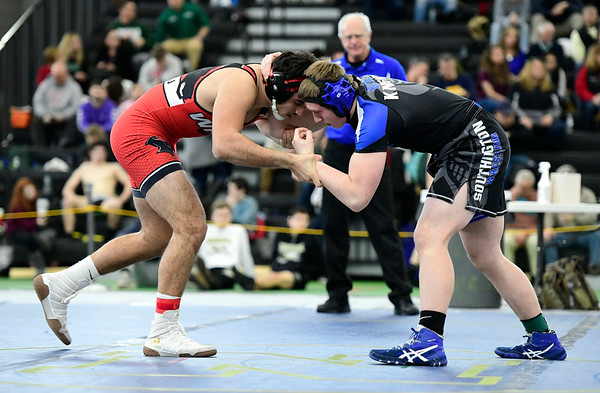 2/22/2019 Mike Orazzi | Staff Southington's Caleb Chesanow and Fairfield Warde's Joe Gjinaj in a 195 pound match during the CIAC State Open Wrestling Tournament at the Floyd Little Athletic Center in New Haven Saturday.