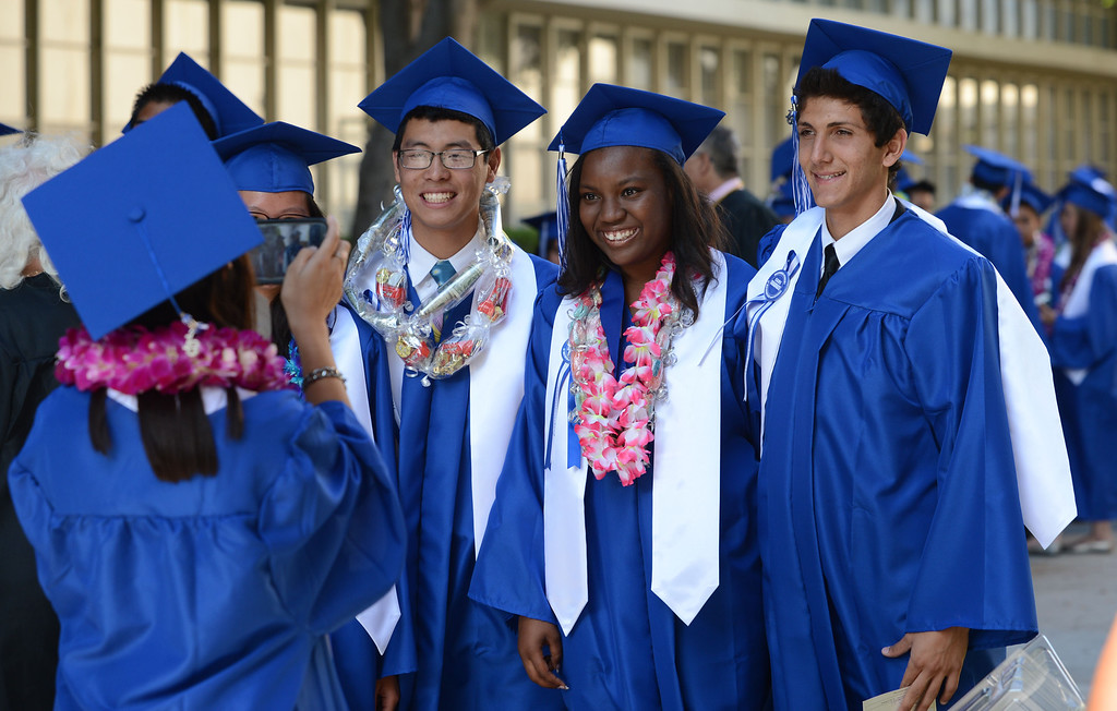 . Long Beach, Calif., -- 06-12-13- California Academy of Math and Sciences class of 2013 prepare to walk inside the Millikan High School Auditorium for the CAMS Twentieth Graduation Exercise Wednesday June 12, 2013.     Stephen Carr/  Los Angeles Newspaper Group