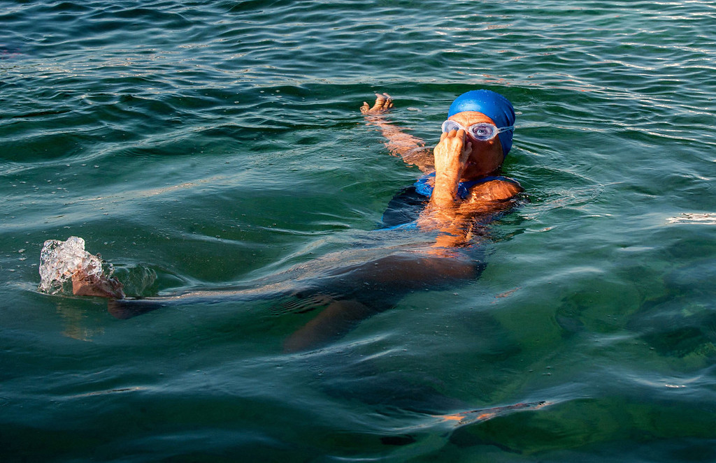 . US swimmer Diana Nyad gets ready to try swimming in a three-day non-stop journey from Havana to Florida at the Ernest Hemingway Nautical Club, in Havana on August 31, 2013.   YAMIL LAGE/AFP/Getty Images