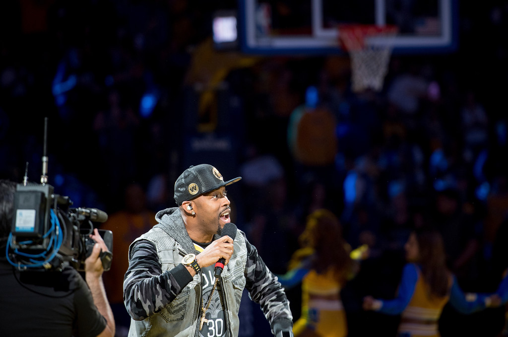 . Montell Jordan performs during a watch party for Game 4 of basketball\'s NBA Finals between the Golden State Warriors and the Cleveland Cavaliers, at Oracle Arena in Oakland, Calif., Friday, June 8, 2018. (AP Photo/Josh Edelson)