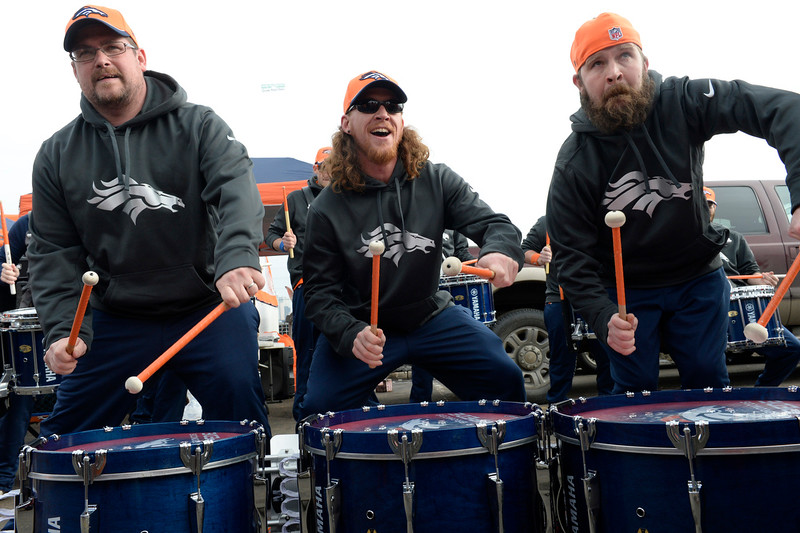 . Members of the Denver Broncos Stampede entertain fans outside the stadium. The Denver Broncos played the Indianapolis Colts in an AFC divisional playoff game at Sports Authority Field at Mile High in Denver on January 11, 2015. (Photo by Craig F. Walker/The Denver Post)