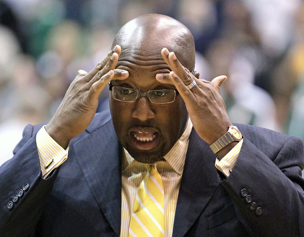 . In this Nov. 7, 2012 file photo Los Angeles Lakers head coach Mike Brown holds his head before the start of the first quarter during an NBA basketball game in Salt Lake City. A report from USA Today says the Lakers have fired Brown after a 1-4 start to his second season in charge of the team. The newspaper report Friday, Nov. 9, 2012 cited Brown\'s agent, Warren Legarie, as the source of the information.  (AP Photo/Rick Bowmer, File)