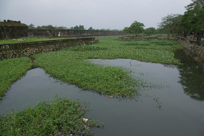 Wide shot of the moat inside Citadel in Hue, Vietnam