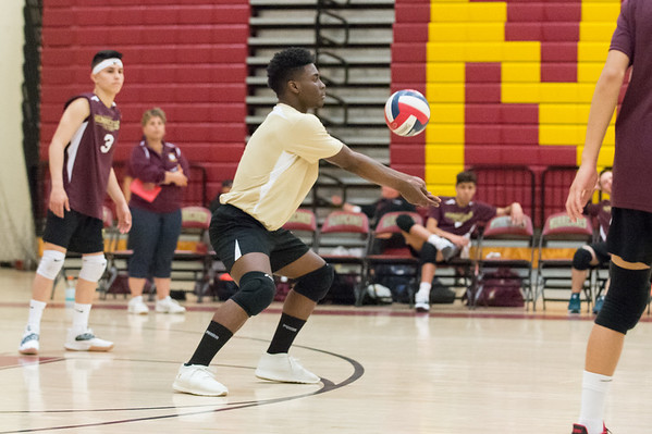 New Britain volleyball was defeated by South Windsor at home on Monday evening. Jerry Chungong (1). Wesley Bunnell | Staff