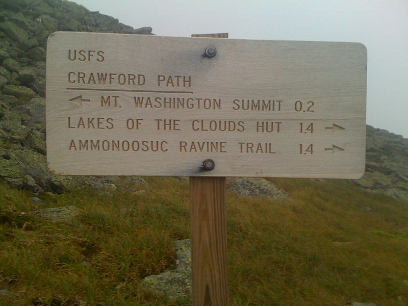 Trail Sign at Mt Washington