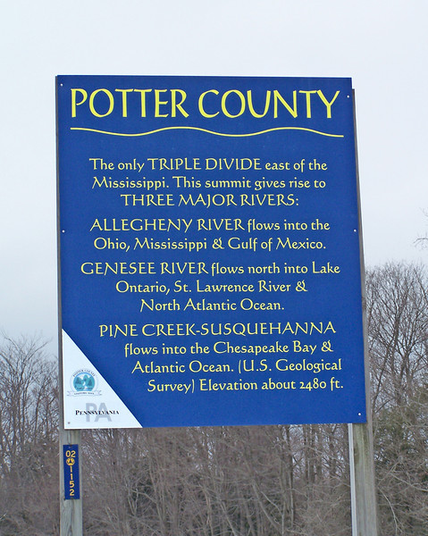 Triple Divide sign, headwaters of the Genesee,Allegheny,Susquehanna sign