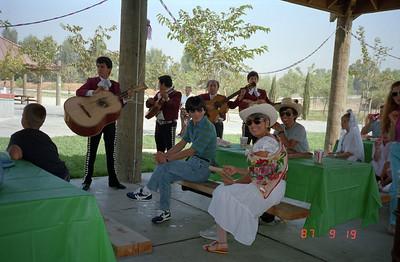 Mr Nakajima and Mr Furusawa enjoying the picnic experience.  Martha is also enjoying the music.