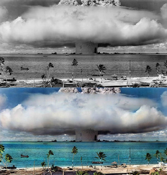 Mushroom-shaped cloud and water column from the underwater Baker nuclear explosion of July 25, 1946. Photo taken from a tower on Bikini Island, 3.5 miles (5.6 km) away. (Photo credit: Sanna Dullaway)