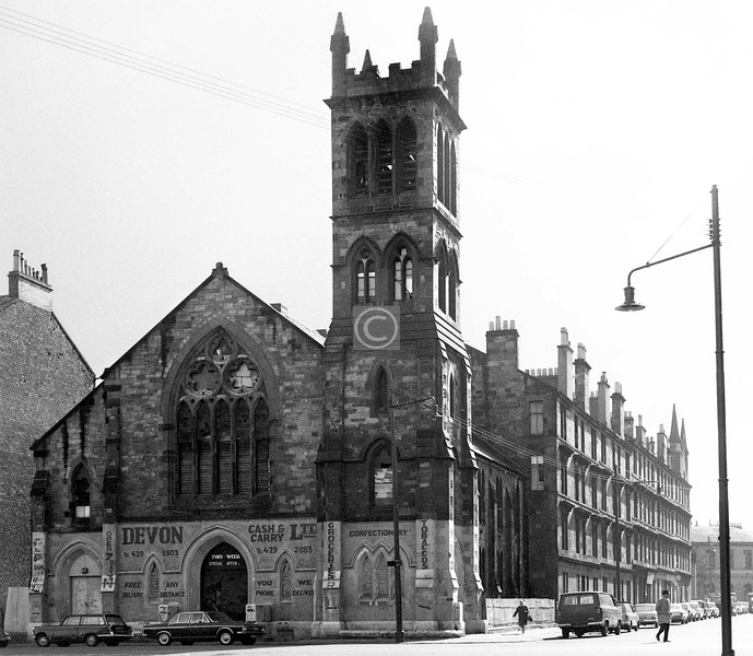 Devon St and McKinlay St.    Abbotsford Parish Church (1873), which had been secularised since the 1930s.    August 1973