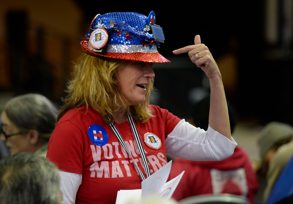 . Anne Donovan Heneghan, Democrat delegate candidate CD-4, Elbert County, tries to garner support at the Colorado Democratic State Convention at the Budweiser Events Center April 17, 2016. (Photo by Andy Cross/The Denver Post)