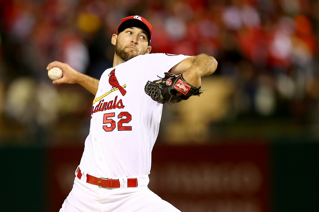 . ST LOUIS, MO - OCTOBER 18:  Michael Wacha #52 of the St. Louis Cardinals pitches in the sixth inning against the Los Angeles Dodgers in Game Six of the National League Championship Series at Busch Stadium on October 18, 2013 in St Louis, Missouri.  (Photo by Elsa/Getty Images)