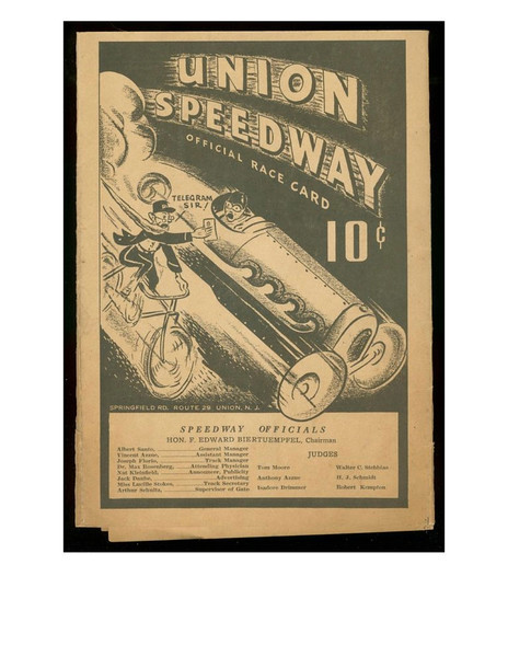 """The first known use of the term """"Big Car"""" in racing advertising was in an ad for The Union Speedway located near Farchers Grove on Springfield ave. The racetrack existed from about 1936 to about 1942."""
