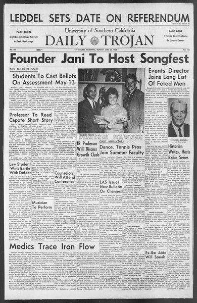 Daily Trojan, Vol. 54, No. 102, April 22, 1963