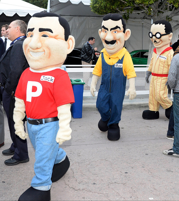 . Pepboys Manny, Moe and Jack arrive during the first media day during the LA auto show, as the show will open to the public this Friday.  Nov 20,2013. Photo by Gene Blevins/LA Daily News