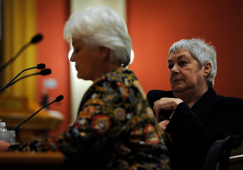 . Sen. Mary Hodge, D-Brighton, right, Senate sponsor of House Bill 1224, listens to testimony from Patricia Maisch who was outside the Tucson grocery store where U.S. Rep. Gabrielle Giffords was shot and six others were killed by Jared Loughner. Testimony begins in front of the Senate Judiciary Committee at the state Capitol for Senate Bill 197 and House Bill 1224. (Photo By Kathryn Scott Osler/The Denver Post)