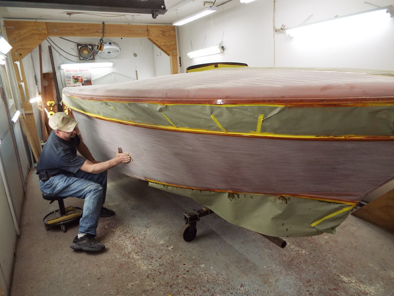 Another picture of the first five coats of finish being sanded.