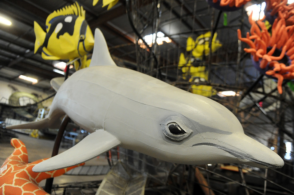 ". A dolphin on Sea Worlds entry titled ""Dreams Come True\"" for the upcoming 2014 Rose Parade at Fiesta Parade Floats in Irwindale, Calif. on Saturday, Sept. 7, 2013. 