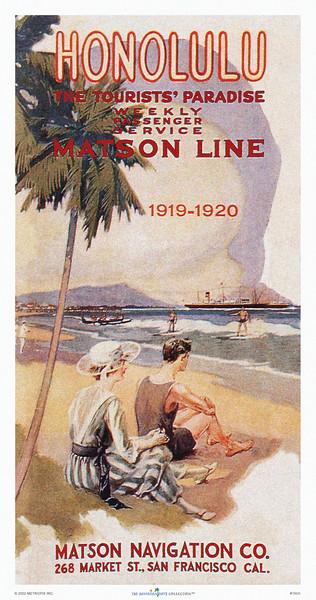 160: 'Honolulu, The Tourists' Paradise' - Hawaiian Islands Travel Brochure Cover, ca 1928. A charming vintage Hawaiian travel poster!
