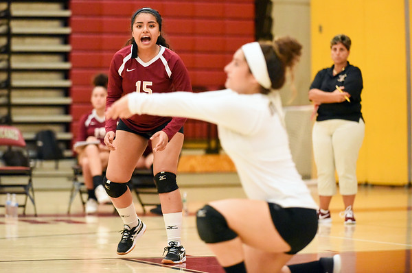 10/10/18 Wesley Bunnell | Staff New Britain volleyball vs Platt on Wednesday evening at New Britain High School. Naishka Perez (15).