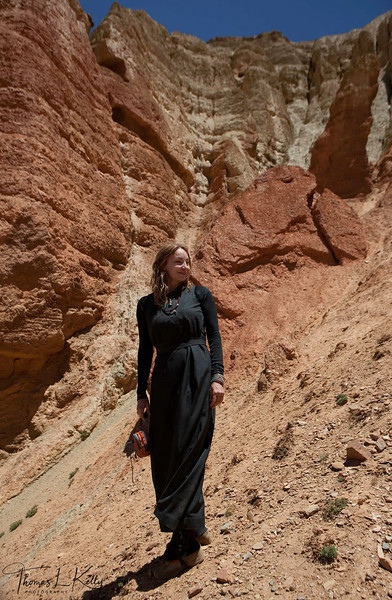 The cave complexes built into fantastical red rock formations above the village in Dhakmar. Mustang, Nepal.