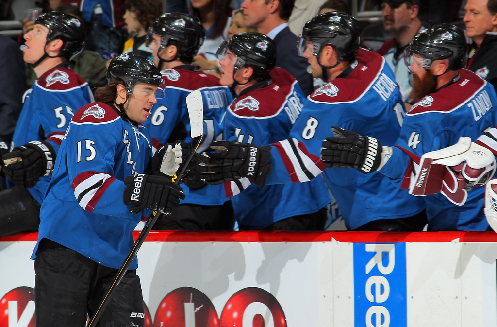 . DENVER, CO - APRIL 19:  P.A. Parenteau #15 of the Colorado Avalanche celebrates his first period goal against the Edmonton Oilers at the Pepsi Center on April 19, 2013 in Denver, Colorado.  (Photo by Doug Pensinger/Getty Images)