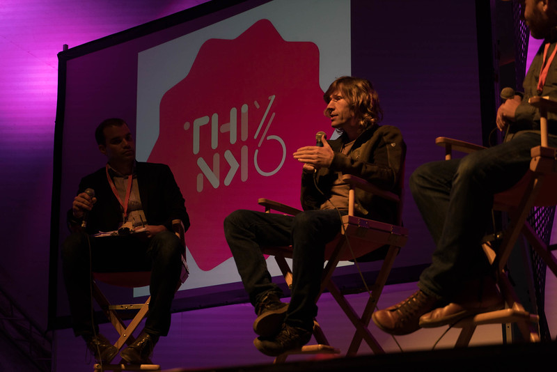 Professional skateboarder Rodney Mullen takes questions from the audience at Thinklandia 2016.