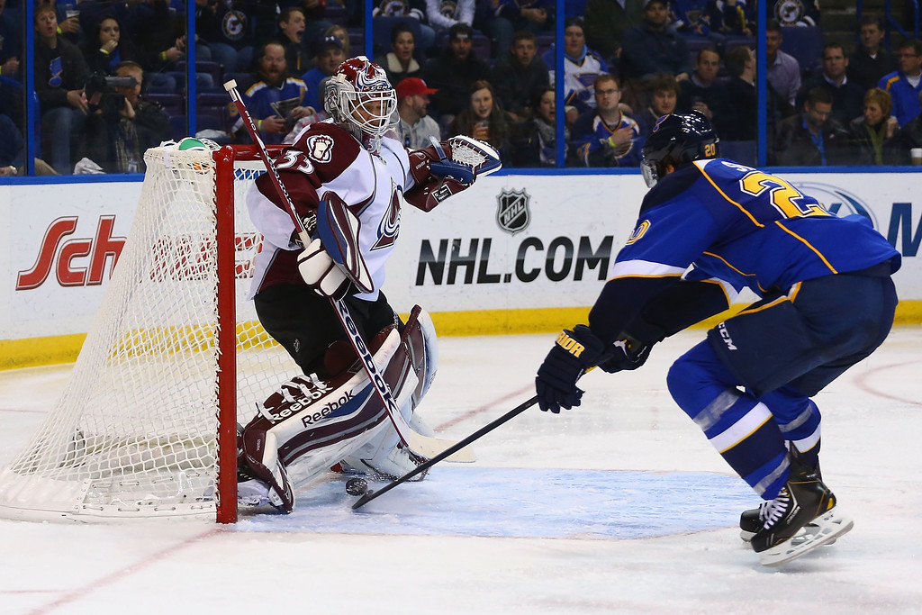 . ST. LOUIS, MO - NOVEMBER 14:  Alexander Steen #20 of the St. Louis Blues scores a goal against Jean-Sebastien Giguere #35 of the Colorado Avalanche at the Scottrade Center on November 14, 2013 in St. Louis, Missouri.  The Blues beat the Avalanche 7-3.  (Photo by Dilip Vishwanat/Getty Images)