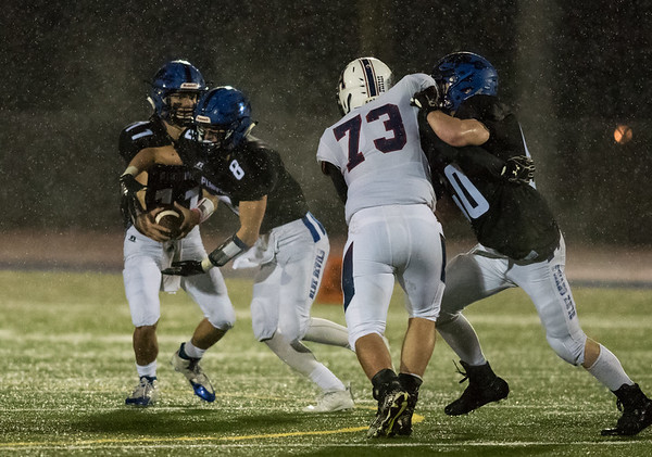 11/09/18 Wesley Bunnell | Staff Plainville vs Avon at Plainville High School on Friday night. Frank Griffin (11) and Brendan Quilter (8).