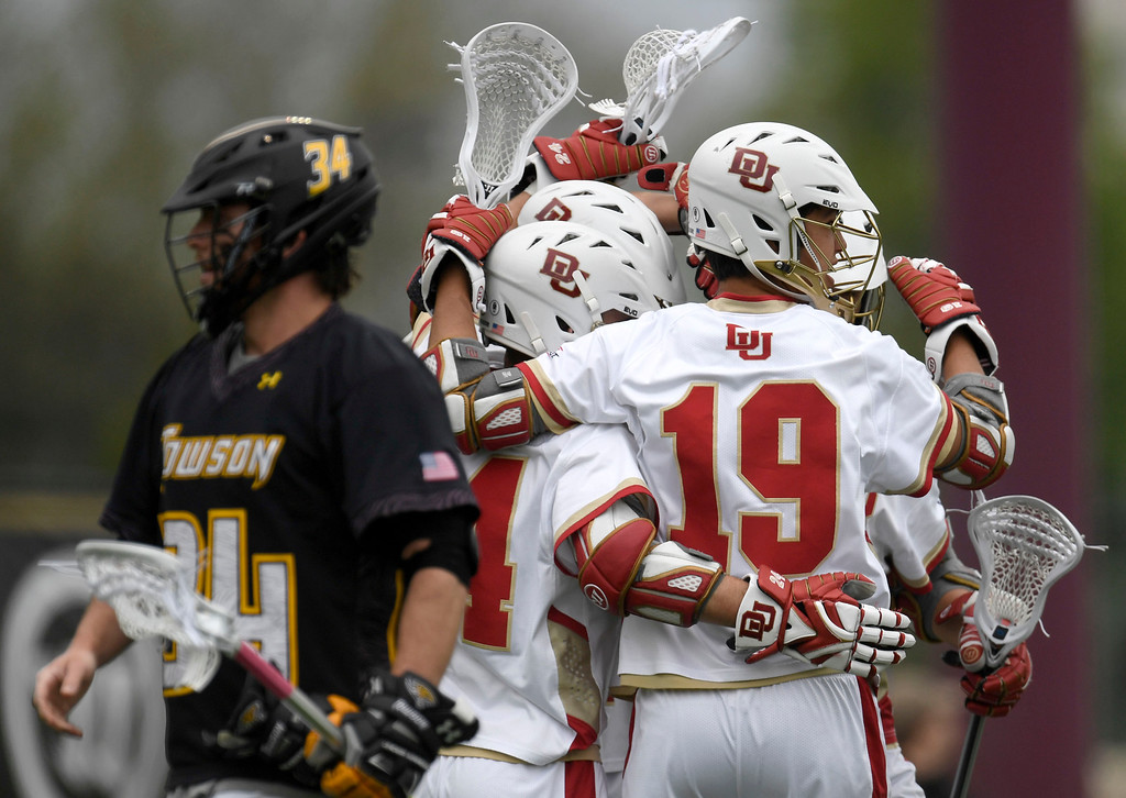 . DENVER, CO - MAY 15:  Tyler Pace (3) of the Denver celebrates a first half goal with teammates against Towson during the first half. University of Denver hosted Towson University in an NCAA tournament game on Sunday, May 15, 2016. (Photo by AAron Ontiveroz/The Denver Post)
