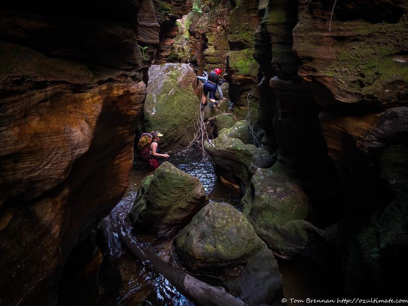 Sue and Rachel scrambling down the boulder-choked Yarramun Creek