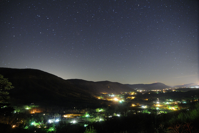 The Powell Valley floor is lit from dozens of house lights under a clear night sky, seen from the Powell Valley Overlook on Highway 23 in Norton, VA on Wednesday, April 23, 2014. Copyright 2014 Jason Barnette  SPECIAL DONATION TO THE INTERNATIONAL DARK-SKY ASSOCIATION: I will donate 20% of all print sales of this photo to the International Dark-Sky Association to help with their fight to preserve the night!