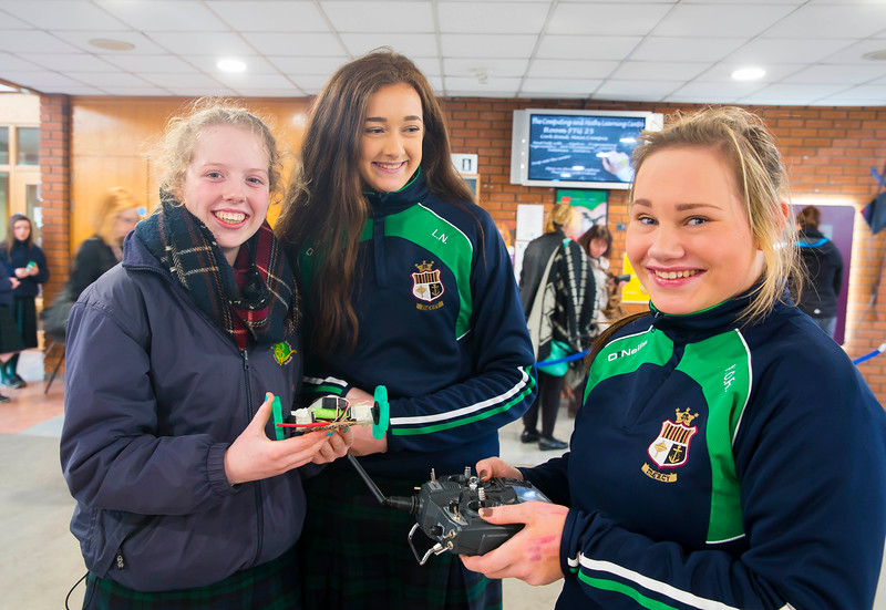 "Pictured at WIT (Waterford Institute of Technology) at Engineers Week are Sinead Kelly, Lorraine O'Donoghue and Kelly O""Rourke from St. Marys Secondary School, New Ross. Picture: Patrick Browne"