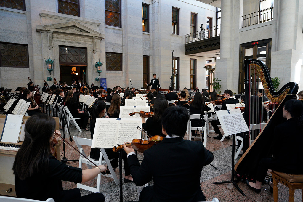 . Cleveland Orchestra Youth Orchestra conducted by Music Director Vinay Parameswaran at the Ohio Statehouse. (Roger Mastroianni, courtesy of The Cleveland Orchestra)